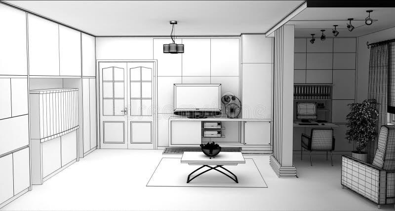 Żywy pokój z Krajobrazowym widokiem, 3D wnętrze fotografia royalty free