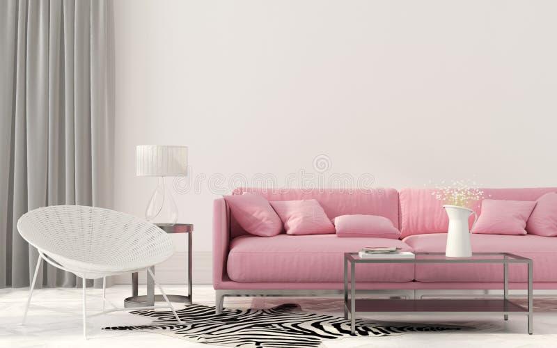 Żywy pokój z różową kanapą ilustracja wektor
