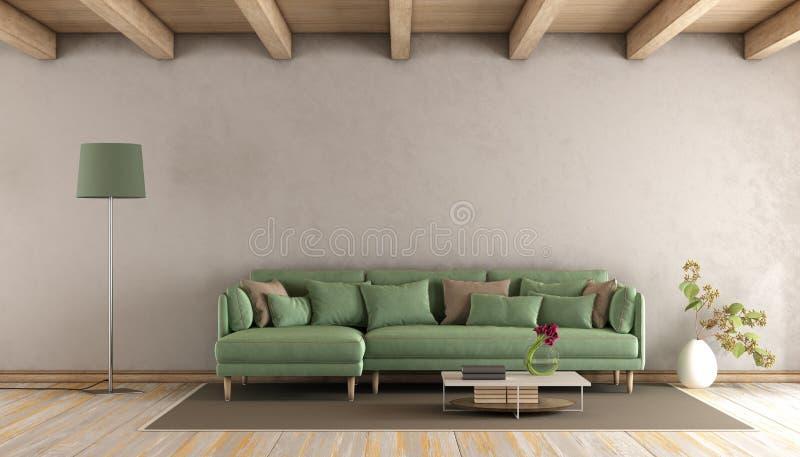 Żywy pokój z zieloną kanapą ilustracja wektor