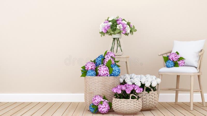 ?ywy teren i kolorowy kwiat w mieszkaniu lub domu 3D rendering - Wewn?trzny projekt dla ?omota? teren - ilustracji