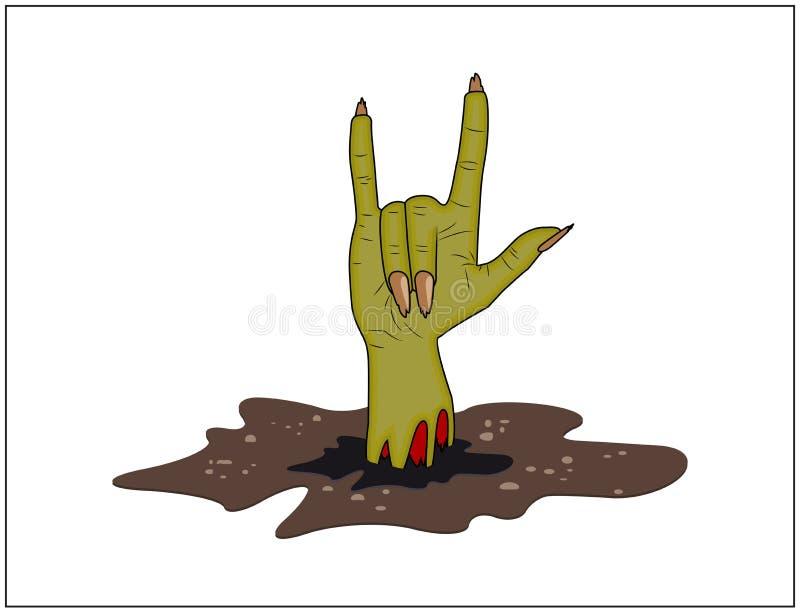 Żywy trup ręki rogi, satan znak z zmielonego Halloween wektoru realistyczna kreskówki ilustracja na białym tle royalty ilustracja