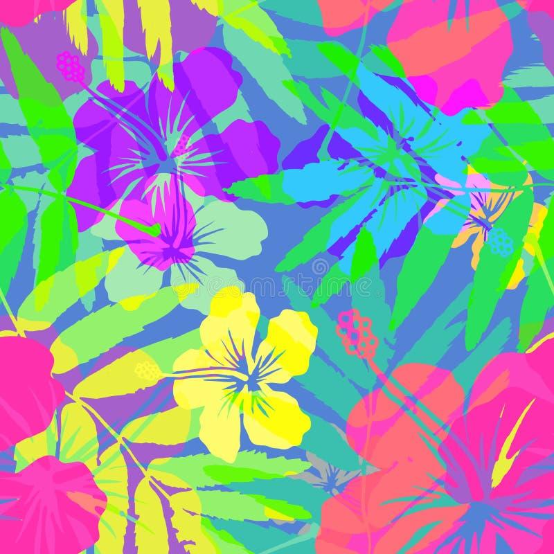 Żywych kolorów jaskrawi tropikalni kwiaty wektorowi ilustracji