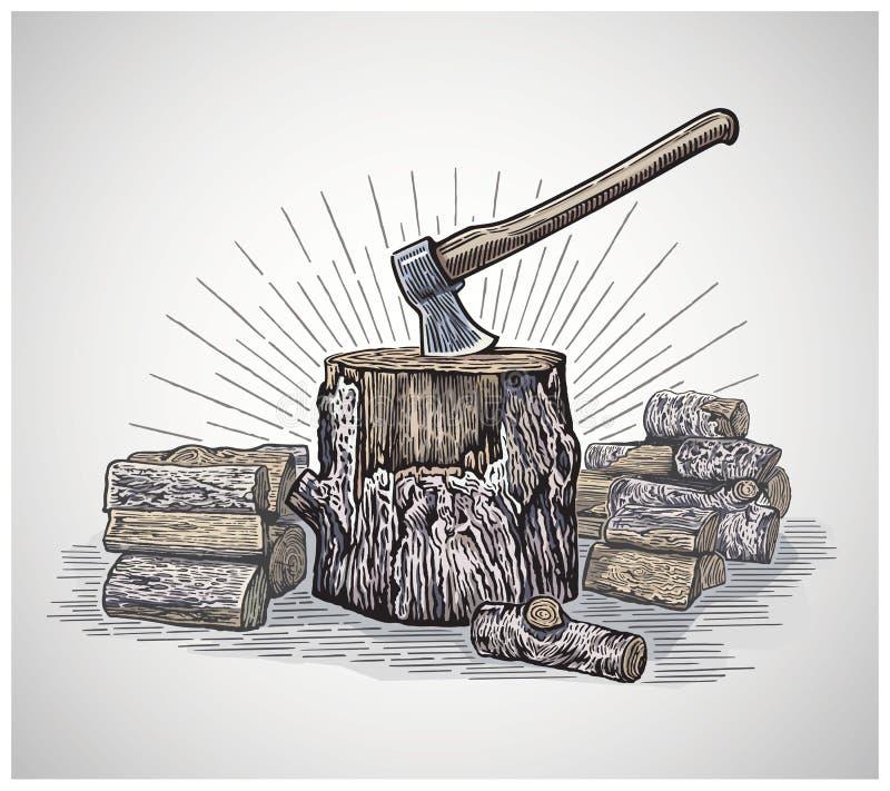 Yxa i en trästubbe som omges av högg av journaler royaltyfri illustrationer