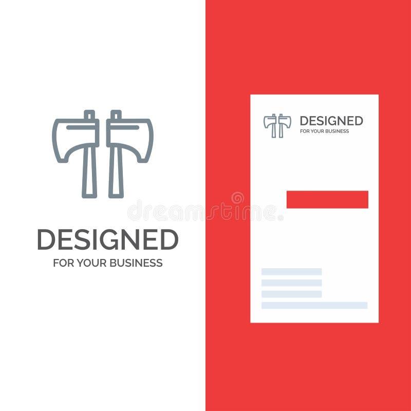 Yxa, kotlett, skogsarbetare, hjälpmedel Grey Logo Design och mall för affärskort vektor illustrationer