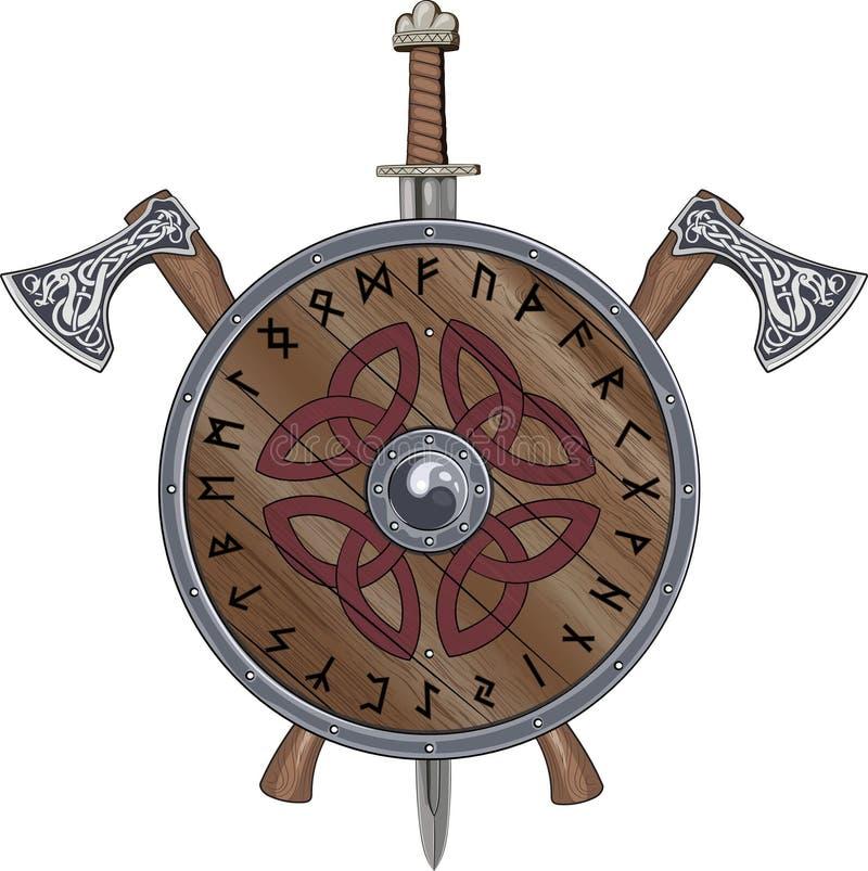 Yxan för två Viking, svärdslutsköld dekorerade scandinavian runor och dekorativt vektor illustrationer