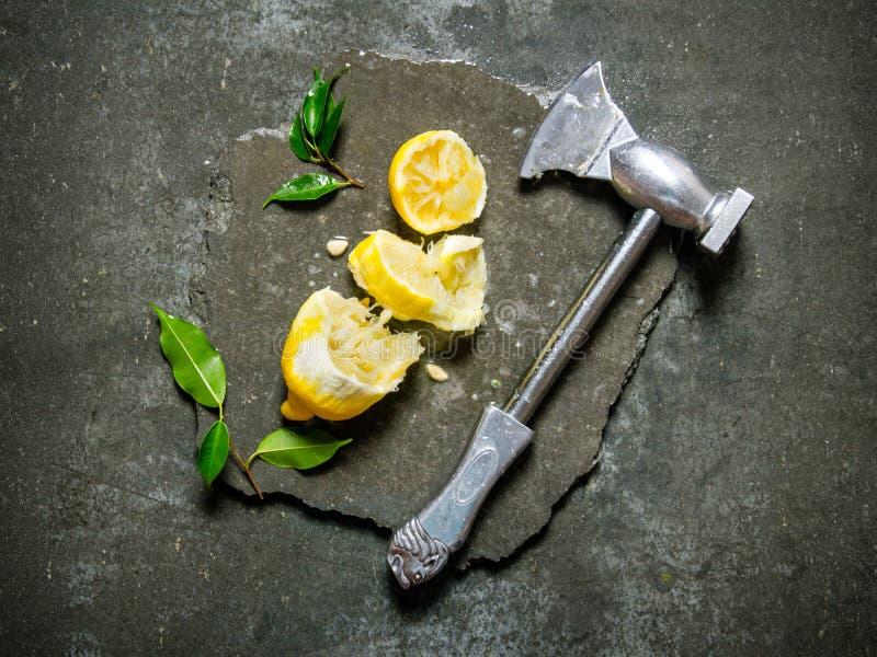 Yxan med citronen och sidor på en sten står royaltyfria foton