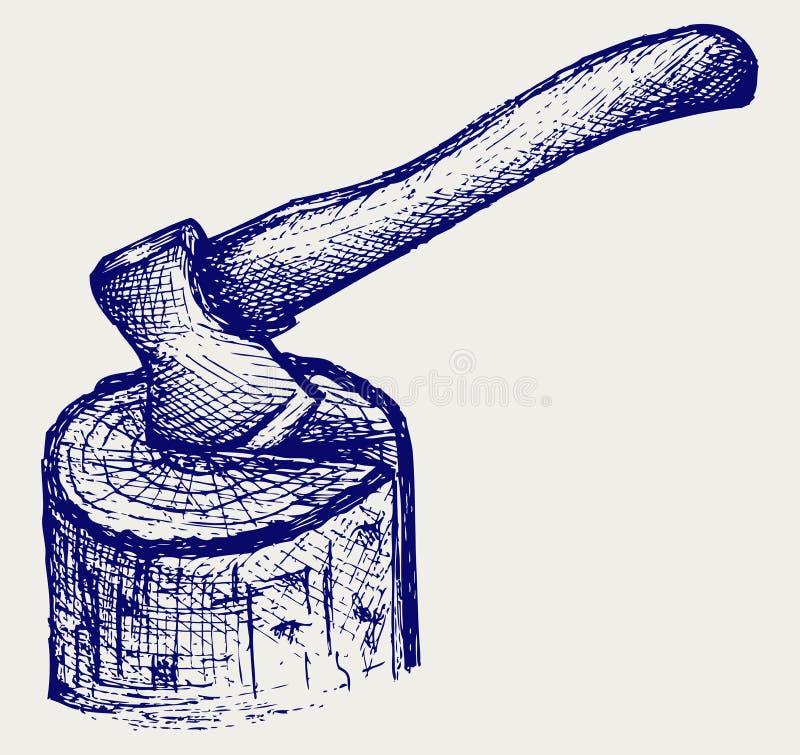 Yxan och loggar stock illustrationer