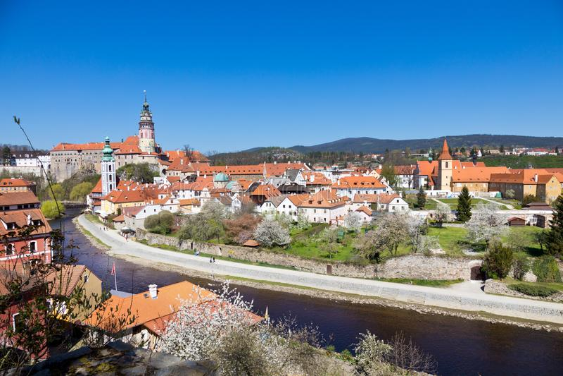 Castle and Moldau river, Cesky Krumlov town UNESCO, South Bohemia, Czech republic, Europe stock photo