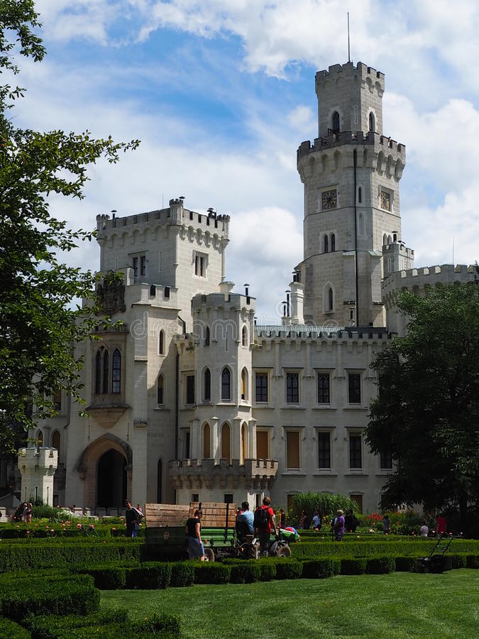 Zámek Hluboká nad Vltavou 2016 Czech Rep. The most important neo-gothic building of the Czech Republic , inspired by the English royal Windsor Castle royalty free stock photography