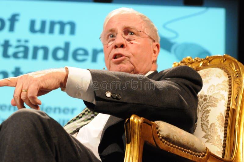 ZÃ-¼ reich: Dr. Christoph Blocher, ehemaliges Schweizer Ratsmitglied an einer Hülse stockfotografie
