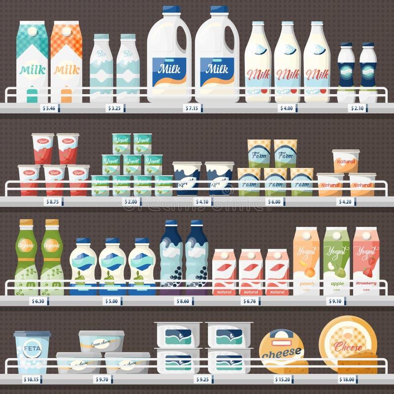 Zähler mit Milch und Jogurt, Käse lizenzfreie abbildung
