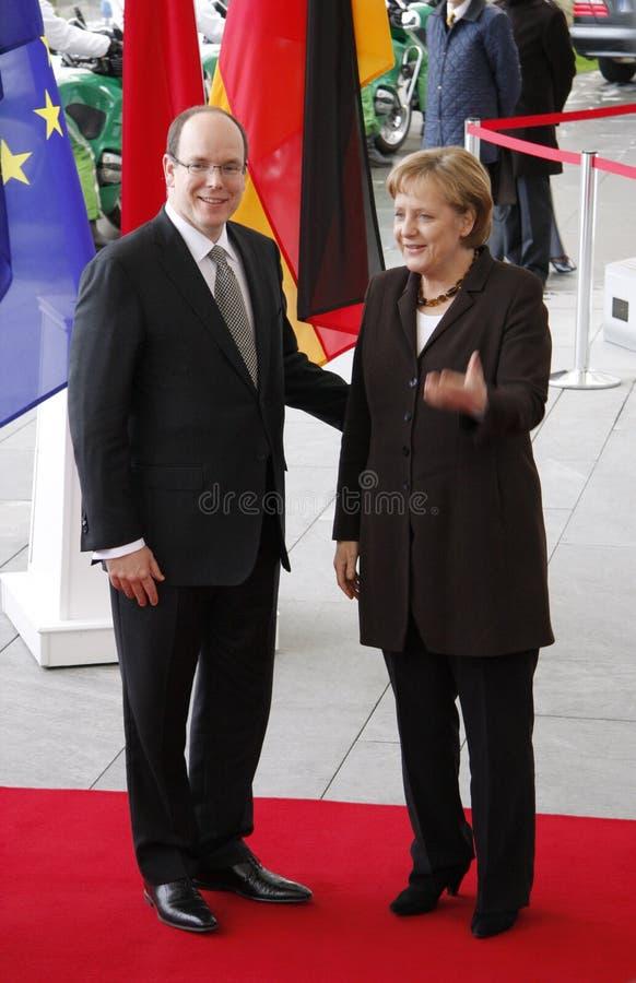 Zählung Albert II von Monaco Angela Merkel lizenzfreies stockfoto