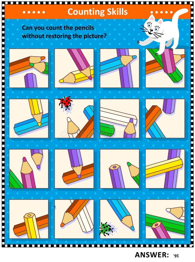 Zählung Bleistiftdes sicht-Logikpuzzlespiels lizenzfreie abbildung