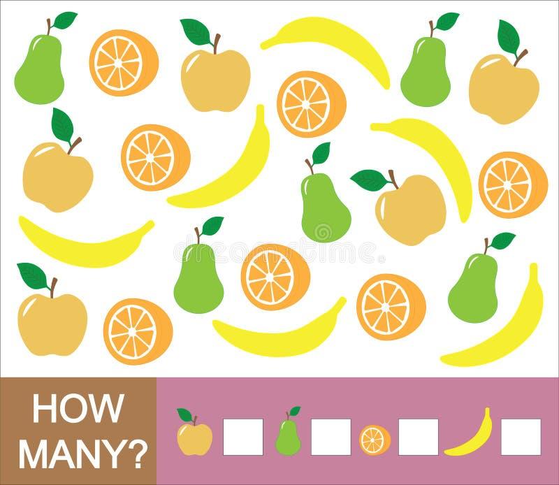 Zählung des Lernspiels für Kinder Wieviele Früchte Apfel, Birne, Orange, Banane Lernen von Zahlen, Mathematik vektor abbildung