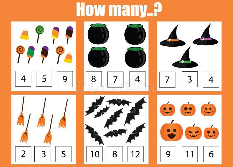Zählung des pädagogischen Kinderspiels, Kindertätigkeitsarbeitsblatt Wieviele Gegenstände eine Arbeit zuweisen, Halloween-Thema vektor abbildung