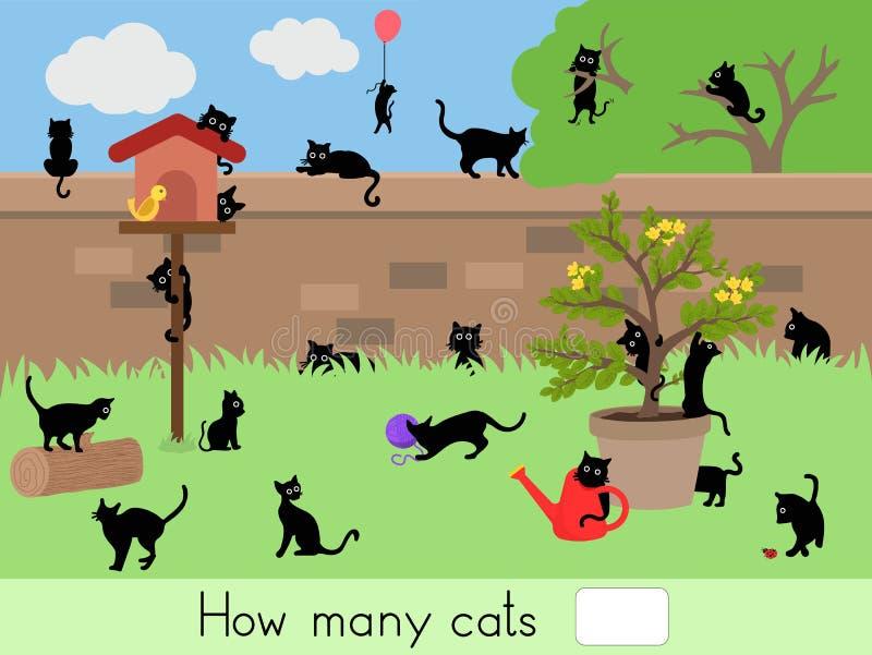 Zählung des pädagogischen Kinderspiels, Kindertätigkeitsblatt Wieviele Katzen stock abbildung