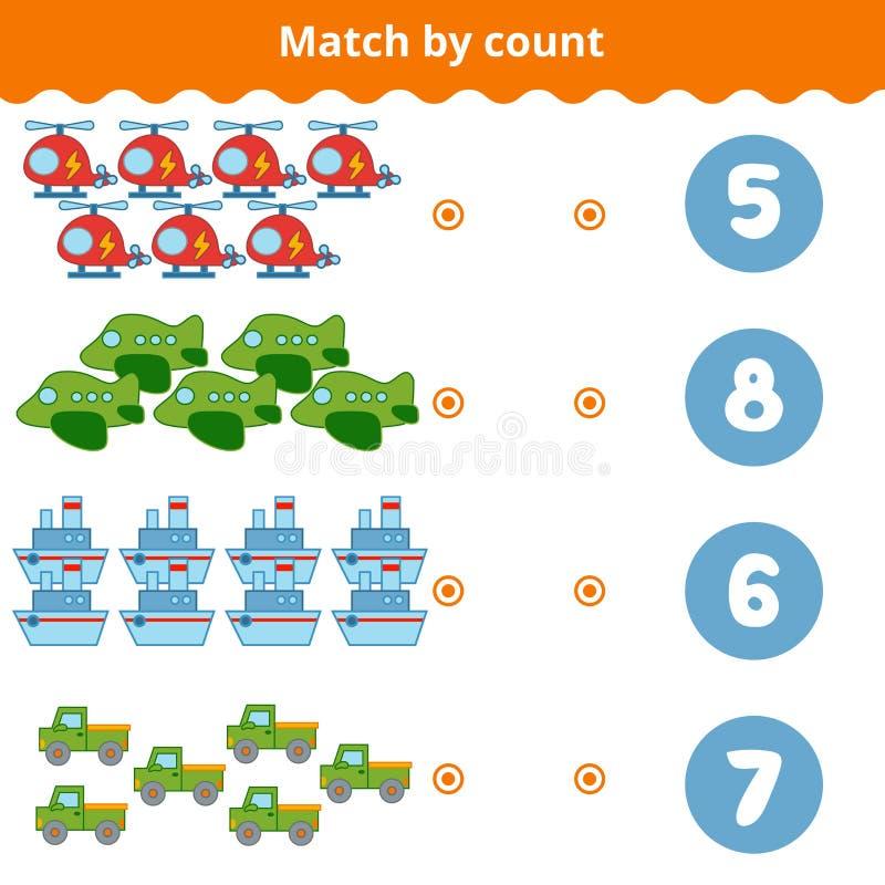 Zählung des Spiels für Kinder Zählen Sie die Einzelteile im Bild vektor abbildung