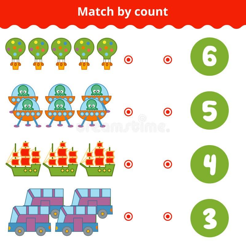 Zählung des Spiels für Kinder Zählen Sie die Einzelteile im Bild lizenzfreie abbildung