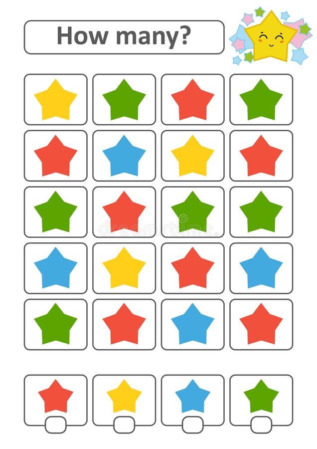Zählung des Spiels für Vorschulkinder für die Entwicklung von mathematischen Fähigkeiten Wieviele Sterne von verschiedenen Farben vektor abbildung