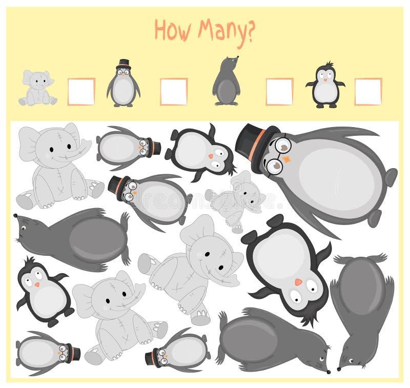 Zählung des Spiels für Vorschulkinder Ein mathematisches Lernspiel Zählen Sie, wieviele Einzelteile und dem Ergebnis schreiben Si lizenzfreie abbildung