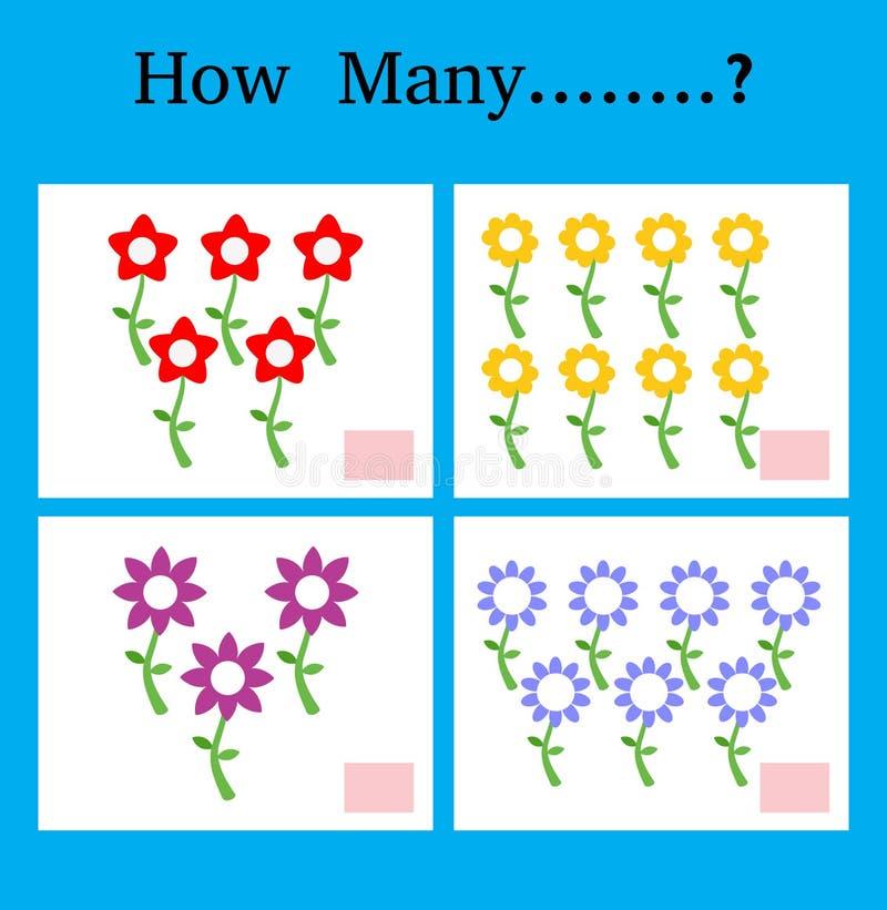 Zählung Spiel für Vorschulkinder, Spiel für Kinder, die Mathematik lernend, pädagogisch ein mathematisches Spiel, wieviele lizenzfreie abbildung