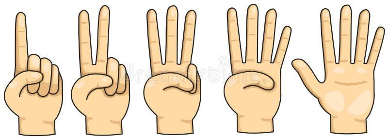 Zählung von Finger 1,2,3,4 und 5 lizenzfreie abbildung