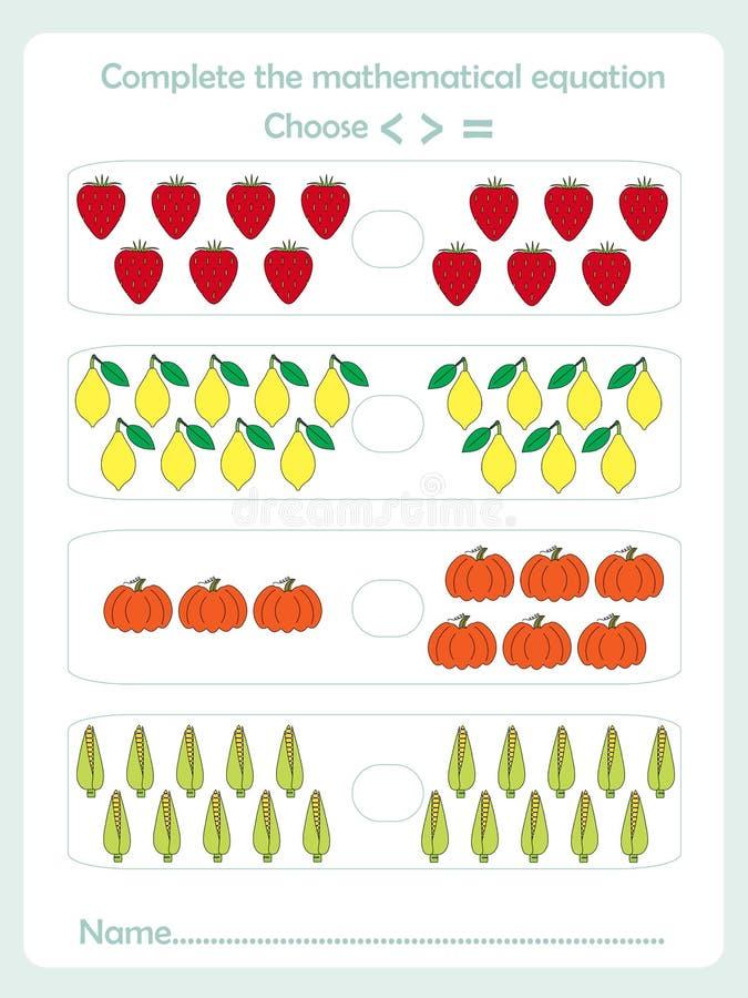 Zählung von Lernspielkindern, Kindertätigkeitsblatt Schließen Sie die mathematische Gleichung ab lizenzfreie abbildung