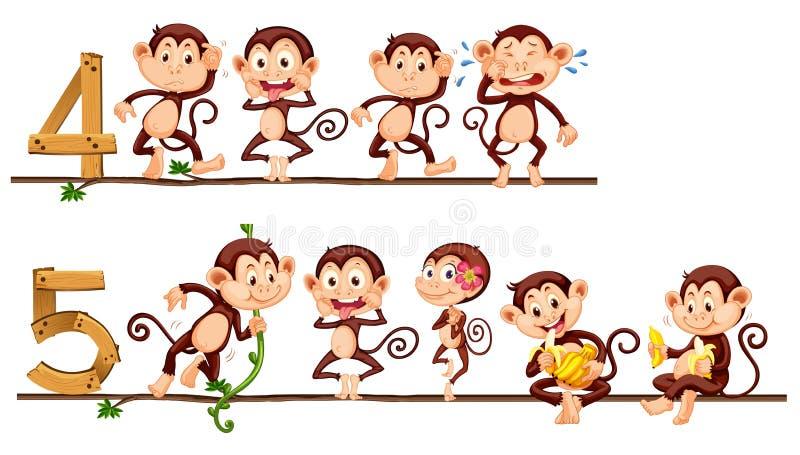 Zählung von Nr. vier und fünf mit Affen vektor abbildung