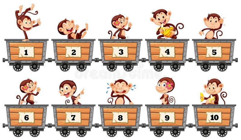 Zählung von Zahlen mit Affen in den Lastwagen lizenzfreie abbildung