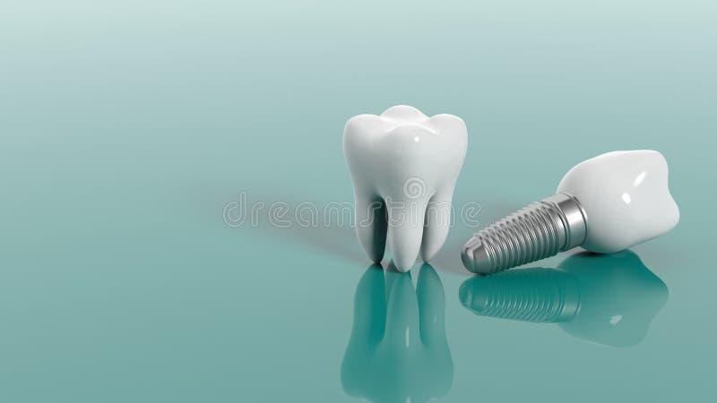 Zähne auf grünem Hintergrund Abbildung 3D lizenzfreie abbildung
