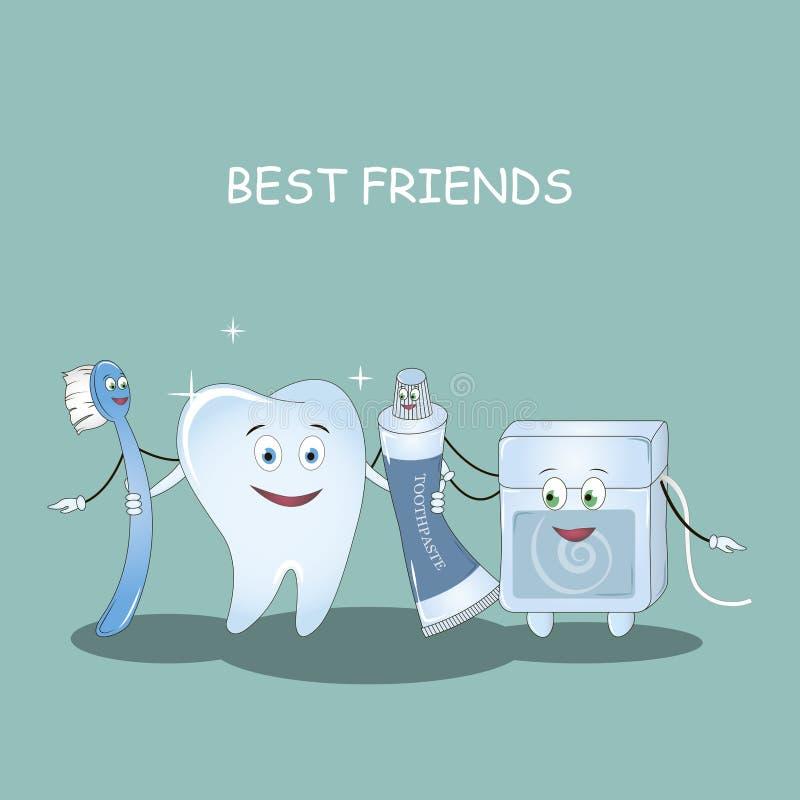 Zähne der besten Freunde Vektor Illustration für Kinderzahnheilkunde und Orthodontie Bildzahnbürste, Zahnpasta, Höhle lizenzfreie abbildung