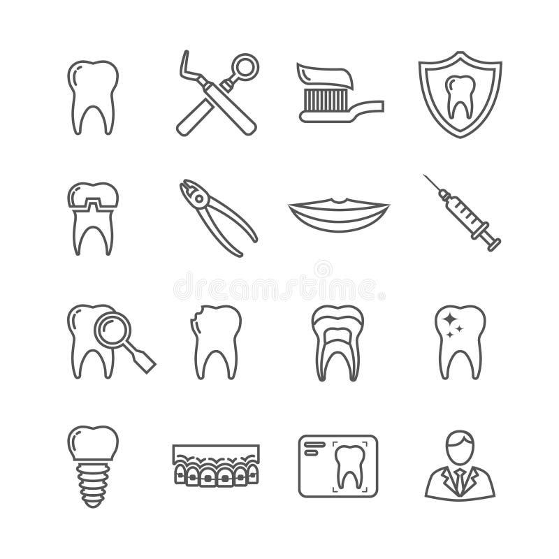 Zähne, medizinische Linie Ikonen der Zahnheilkunde vektor abbildung