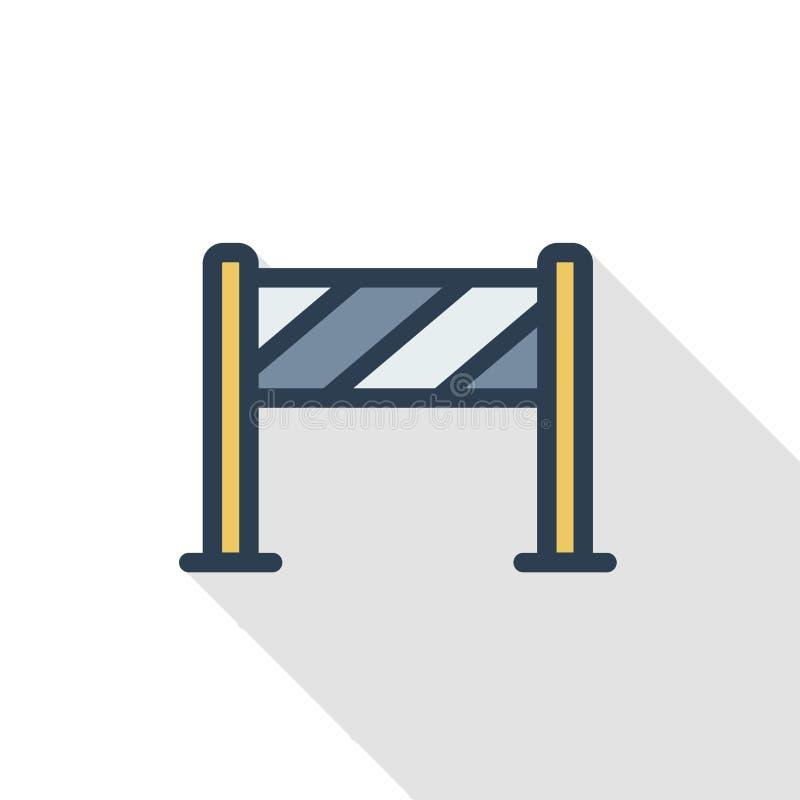 Zäunen Sie dünne Linie flache Farbikone des hellen Baus ein Lineares Vektorsymbol Buntes langes Schattendesign stock abbildung