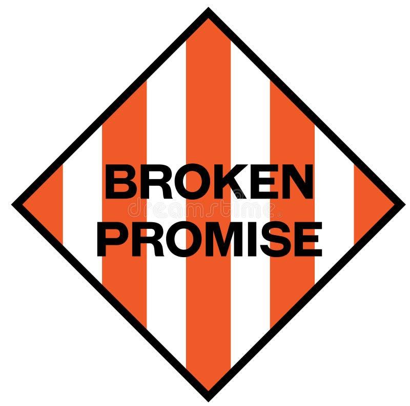 Złamana obietnica znak ostrzegawczy ilustracja wektor