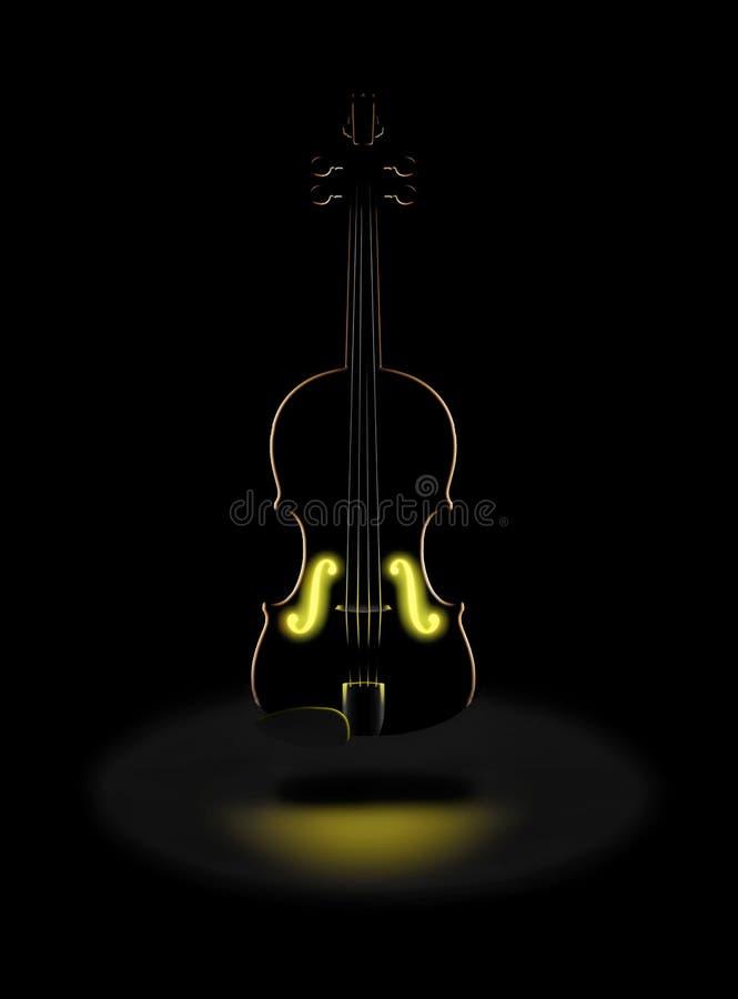Złoci brzmienia klasyczny skrzypce wyrażają z rozjarzonym złotym światłem w z wewnątrz ten dramatycznego wizerunku royalty ilustracja