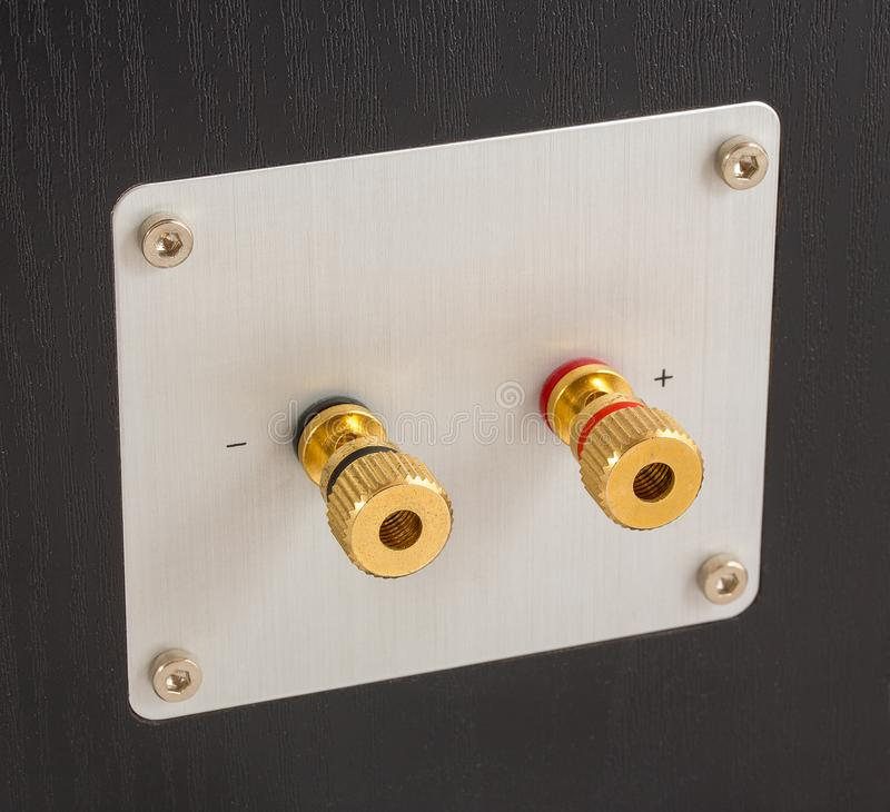 Złoci głośnik wydajności terminale z tyłu mówcy Włączniki dla złączonego kabla lub drutu obraz royalty free