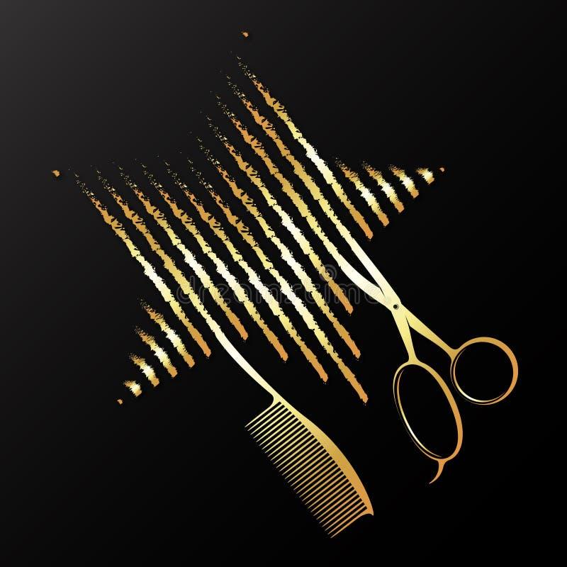 Złoci nożyce grępla i gwiazda royalty ilustracja