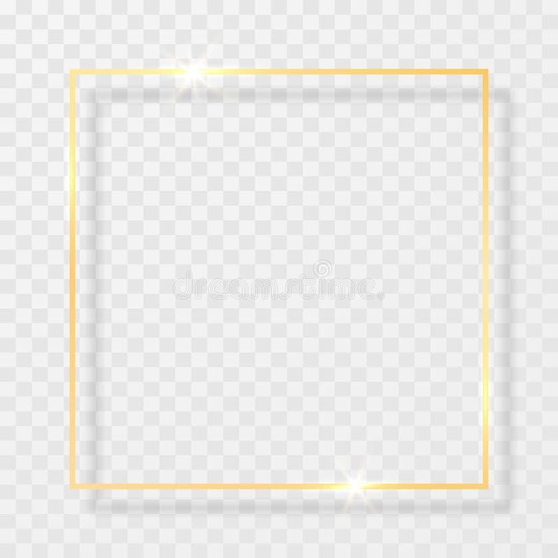 Złocista błyszcząca rozjarzona rocznik rama z cieniami odizolowywającymi na przejrzystym tle Złota luksusowa realistyczna prostok royalty ilustracja