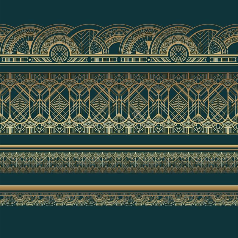 Złociste art deco granicy na ciemnym turkusowym tle royalty ilustracja