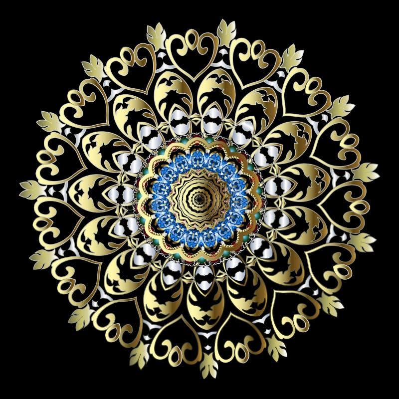 Złocisty Barokowy kwiecisty round mandala wzór Wektorowy ornamentacyjny etniczny stylowy orientalny tło ornamentu dekoracyjny roc ilustracji