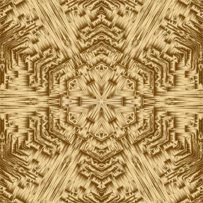 Złocisty cristal geometrii tło i symetria projekt, abstrakt ilustracji
