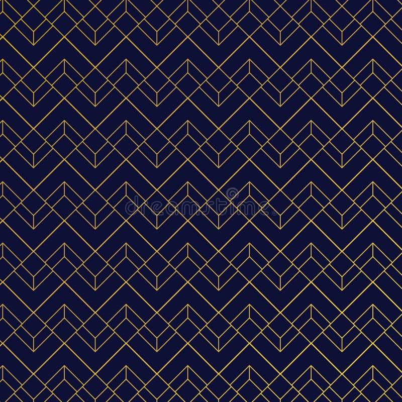 Złocisty geometryczny wzór z liniami na zmroku - błękitny tła art deco styl ilustracja wektor