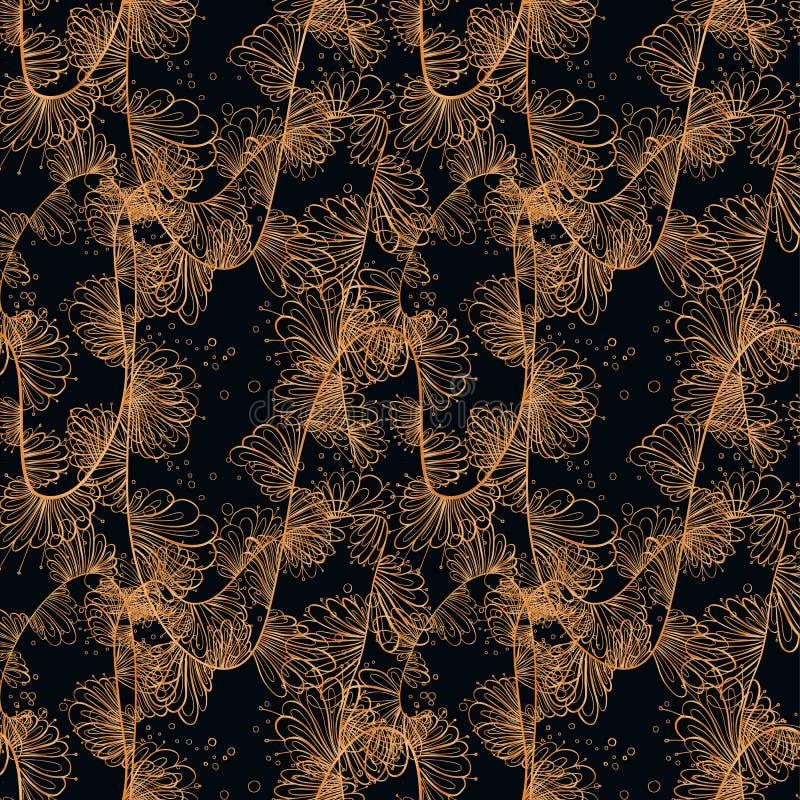 Złocisty rocznika kartka z pozdrowieniami na czarnym tle Luksusowy wektorowy ornamentu szablon mandala Wielki dla zaproszenia, ul royalty ilustracja