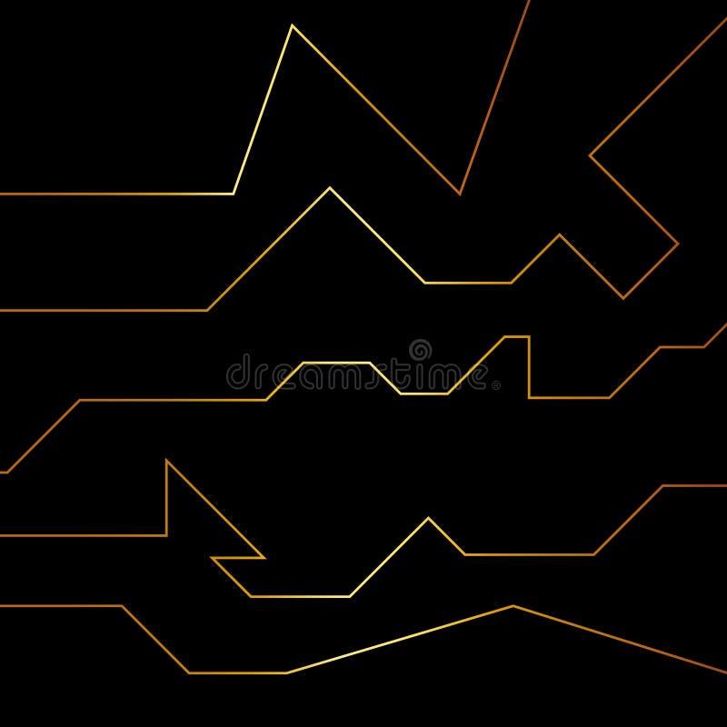 Złota abstrakcjonistyczna elektron energii linia na oczyszczonym czarnym tle Władzy żyły światła technika ilustracja wektor