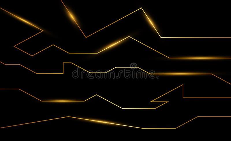 Złota abstrakcjonistyczna elektron energii linia na oczyszczonym czarnym tle Władzy żyły światła technika royalty ilustracja
