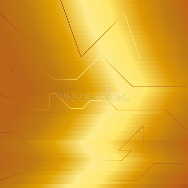 Złota abstrakcjonistyczna elektron energii linia na oczyszczonym złotym tle Władzy żyły światła technika royalty ilustracja