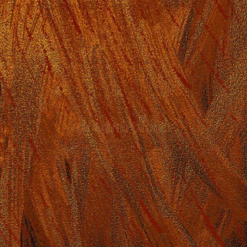 Złota abstrakcjonistyczna ręka rysujący malujący atramentu muśnięcie muska grafikę Błyskotliwość klajstrująca na jaskrawej powier obraz royalty free