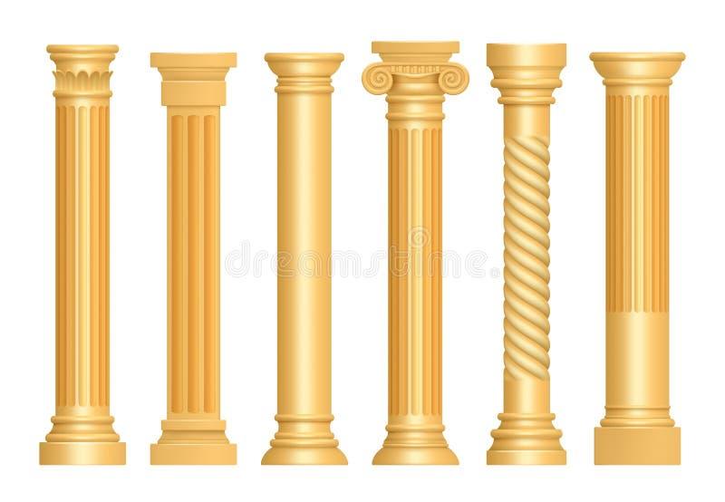 Złota antykwarska kolumna Klasycznych rzymskich filarów sztuki rzeźby piedestału architektoniczny wektor realistyczny ilustracji
