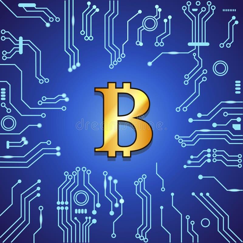 Złota bitcoin waluta na błękitnym cyfrowym futurystycznym tle Blockchain technologii pojęcia wektoru ilustracja ilustracji
