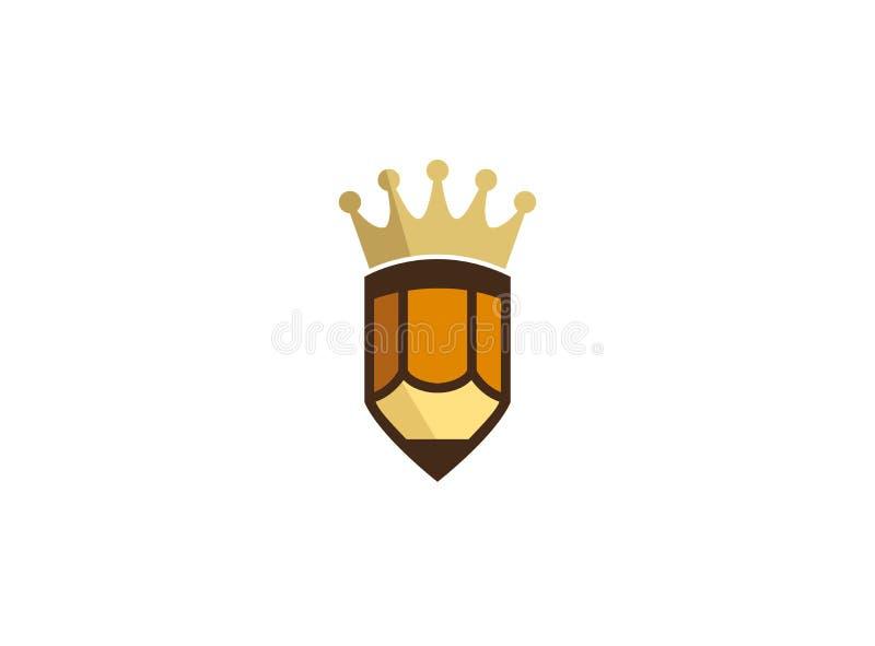 Złota korona na małym pióro logo ilustracja wektor
